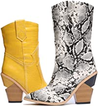 Shoe'N Tale Women's Modern Chunky High Heel Western Cowgirl Mid Calf Boots Wedge Pointy Toe Cowboy Ankle Booties
