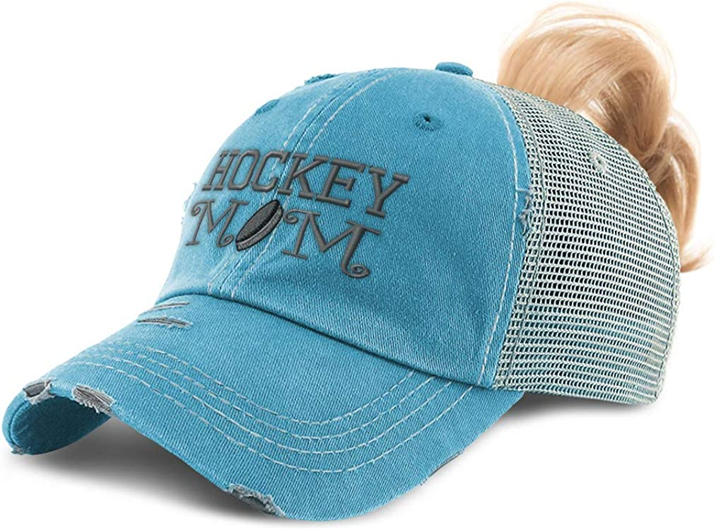 Speedy Pros Womens Ponytail Cap Hockey Mom A Embroidery Cotton Distressed Trucker Hats