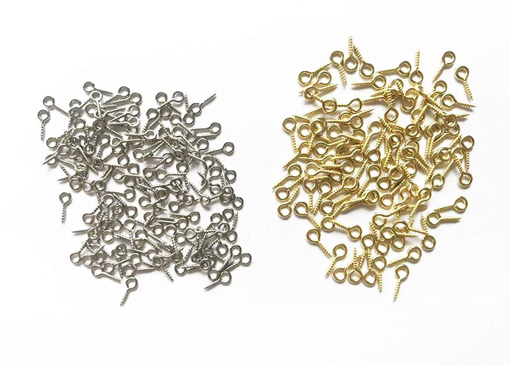 Small Mini Screw Eyes 500 Pack Metal Pin Hook DIY Jewelry Making,Silver+Gold Multi Packed