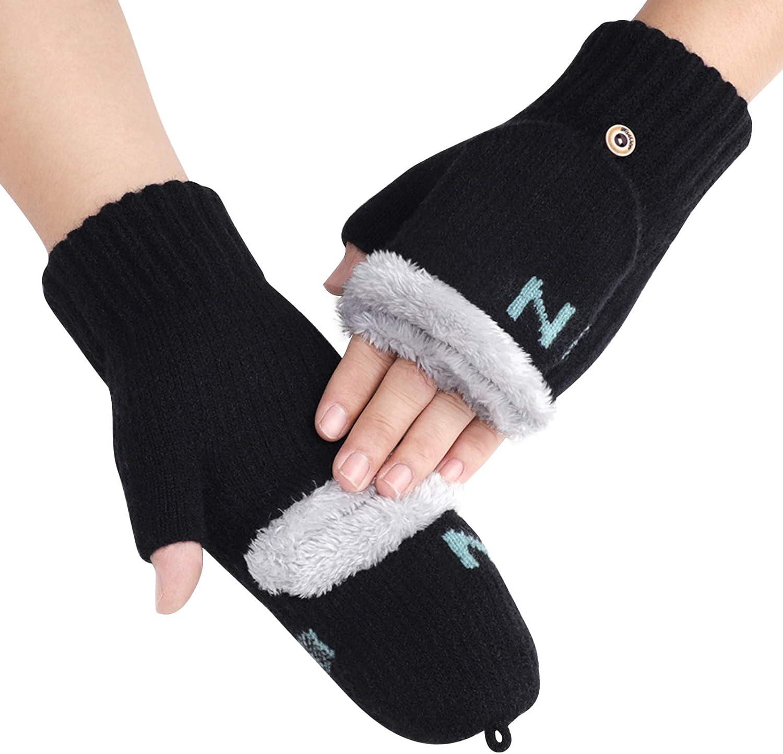 Women Girls Gloves Half Finger Texting Warm Snow Smartphone Mittens Gloves