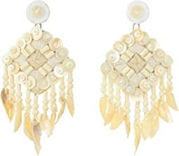 Beaded Shell Statement Earrings