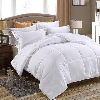 Juwenin bedding,Down Alternative Comforter, Duvet Insert, Medium Weight for All Season (Full/Queen, White)