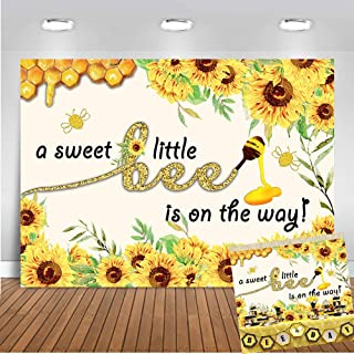 Art Studio 7x5ft Sweet Little Bee Boy Girl Baby Shower Party Decorations Photography Backdrop Princess Yellow Honey Bee-Day Sunflower Photo Background Banner for Dessert Table Studio Props Vinyl