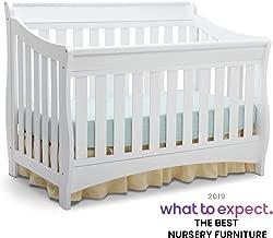 Delta Children Bentley S Series 4-in-1 Convertible Baby Crib, White
