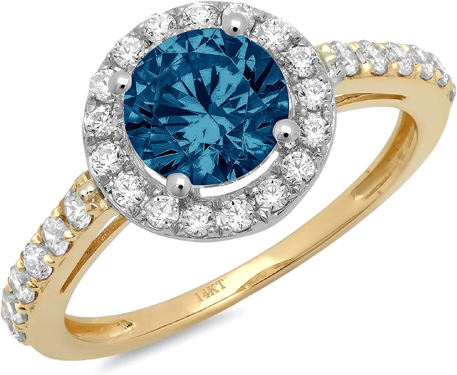 Clara Pucci 2.5 ct Round Cut Solitaire Accent Halo Stunning Genuine Flawless Natural London Blue Topaz Gem Designer Modern Statement Ring Solid 18K Yellow & White Gold