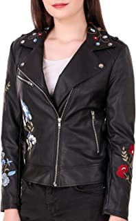 Leather Retail® Hand Embroidery Faux Leather Jacket for Woman's