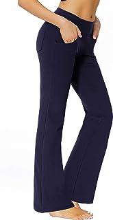 "SERHOM Bootcut Yoga Pants with Pockets 29""/31""/35"" Mid High Waist Workout Bootleg Flare Work Pants Overalls for Women"