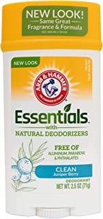 ARM & HAMMER Essentials Solid Deodorant, Clean(Juniper Berry), Wide Stick, 2.5 oz. (Pack of 3)