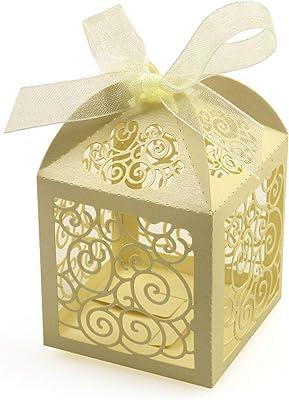 100pieces Laser Cut Bride and Bridegroom Hollow Candy Boxes Wedding Favor