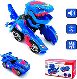 CYKT Dinosaur Toys for 5-10 Year Old Boys, anamorphic Dinosaur Toy Cars with LED Lights and Music, Best Christmas Birthday Gifts for 5-7 Year Old Boys.
