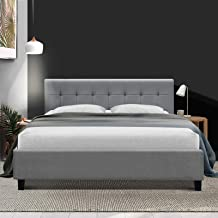 King Bed Frame Fabric Upholstery Bed Base Grey