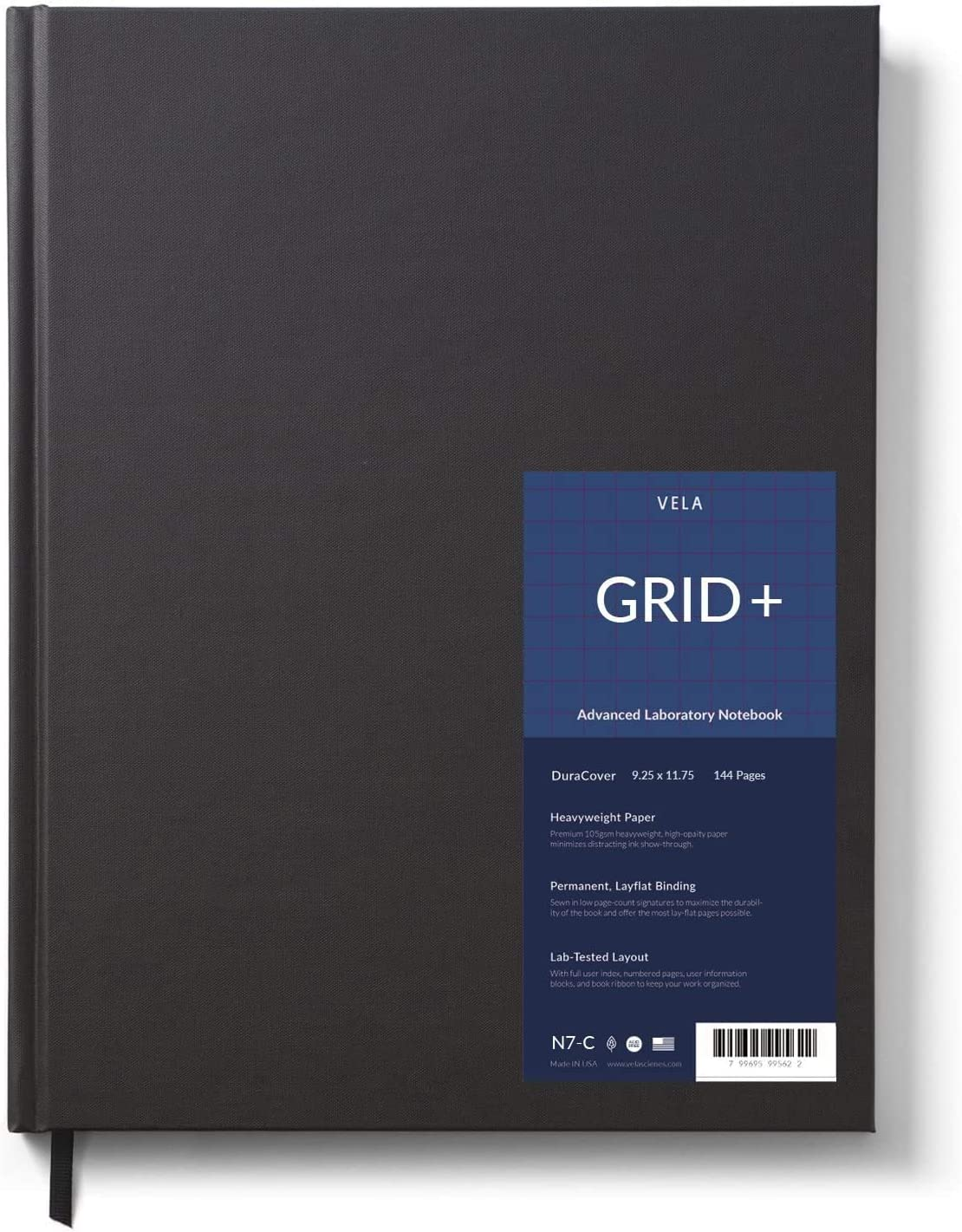 Vela Sciences N7-C Expanded Duracover Lab Notebook, 9.25 x 11.75 in, 144 Pages, Gray Cover (5mm Grid+, 1-Pack) : Office Products