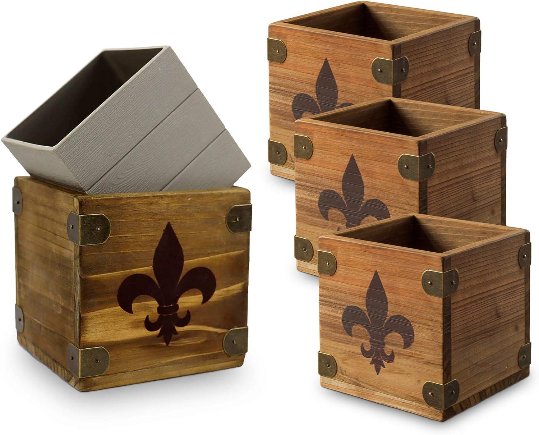 Wood Planter Boxes, Rustic French New Orleans Fleur De Lis Design, 5 Inch Square Removable Plastic Liner, Wedding Table Centerpiece, Farmhouse Vintage Country Style, Home, Venue Decor - (Set of 4)