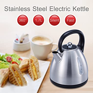 Avan-Pacific Stainless Steel 360°Cordless Electric Kettle 1.7L 1500W Auto Shut-Off, Boil Dry Protection ETL/FDA Approval (RED