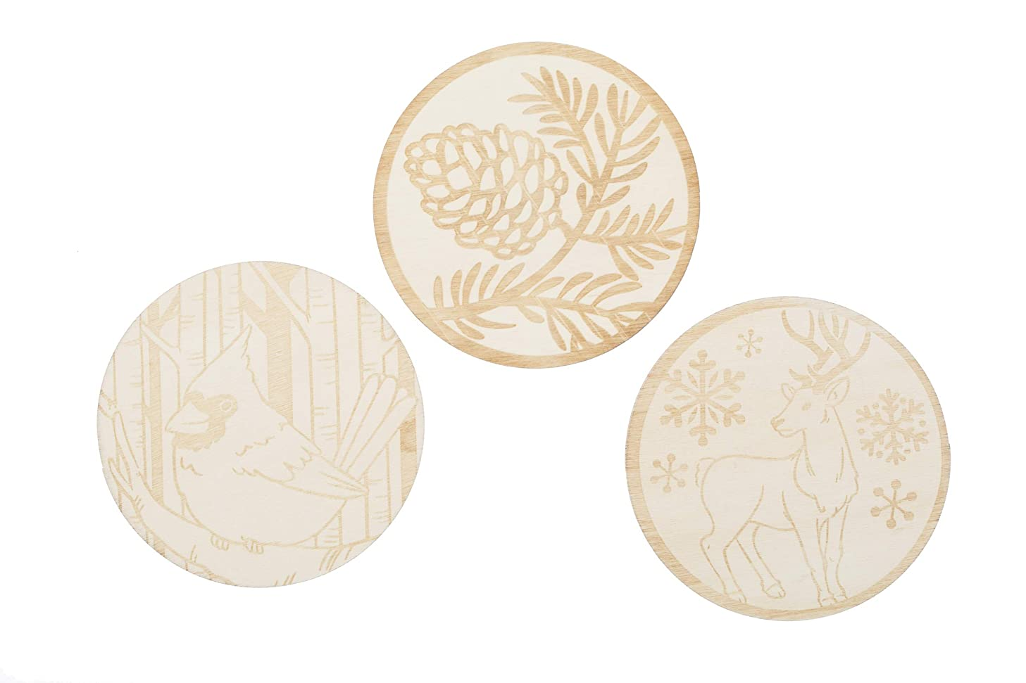 Darice 30075852 Wood Shapes: Assorted Etched Woodland Designs, Unfinished, 4 Pieces
