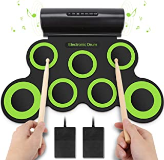 YISSVIC Electronic Drum Set Electric Drum Set Roll Up Drum Pad Foldable Portable with Headphone Jack Built-in Speaker Foot Pedals Drum Sticks for Kids or Beginner