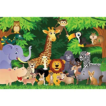 7x10 FT Cartoon Animal Vinyl Photography Backdrop,Grunge Savannah Fauna Childhood Theme Safari Funny Wildlife Pattern Background for Party Home Decor Outdoorsy Theme Shoot Props
