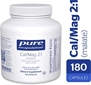 Pure Encapsulations - Cal/Mag (Malate) 2:1 - Hypoallergenic Calcium and Magnesium Supplement in a 2-to-1 Ratio - 180 Capsules