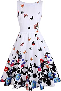 a876a4c20e7fa OWIN Women s Floral 1950s Vintage Swing Cocktail Party Dress with Butterfly  Pattern