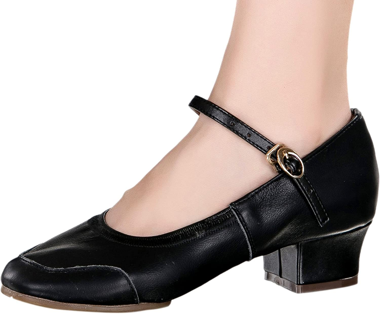 Honeystore Classic Women's Cow Leather Salsa Latin Dance shoes Mary Jane