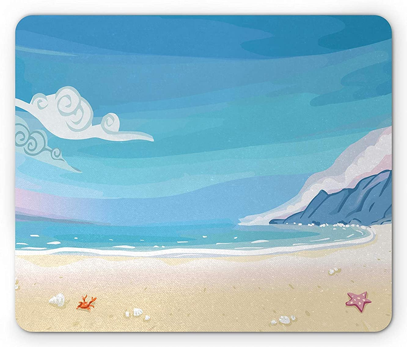 Neverland Mouse Pad, Paradise Beach by The Ocean Coastal Charm with Sea Shells and Starfish Image, Standard Size Rectangle Non-Slip Rubber Mousepad, Sky Blue Ivory
