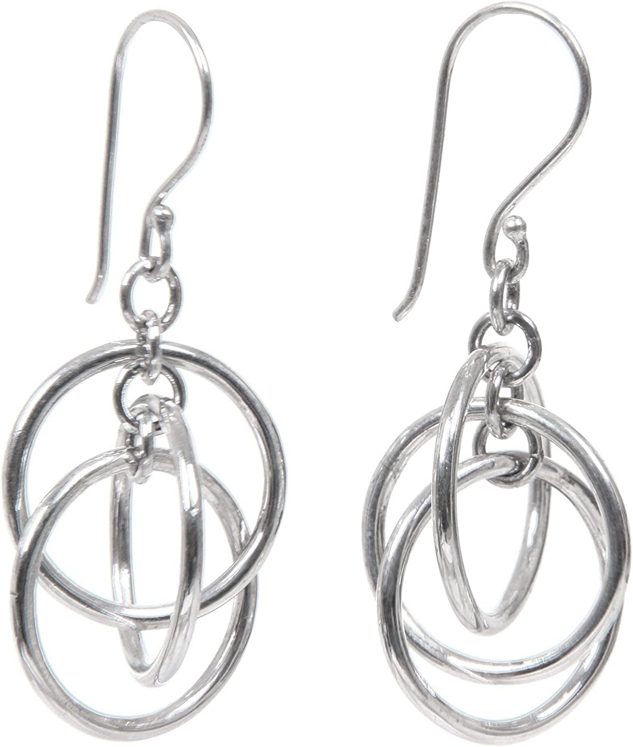 NOVICA Modern 3 Ring Ranking TOP9 Sterling Ring' Dangle Max 56% OFF Silver Earrings