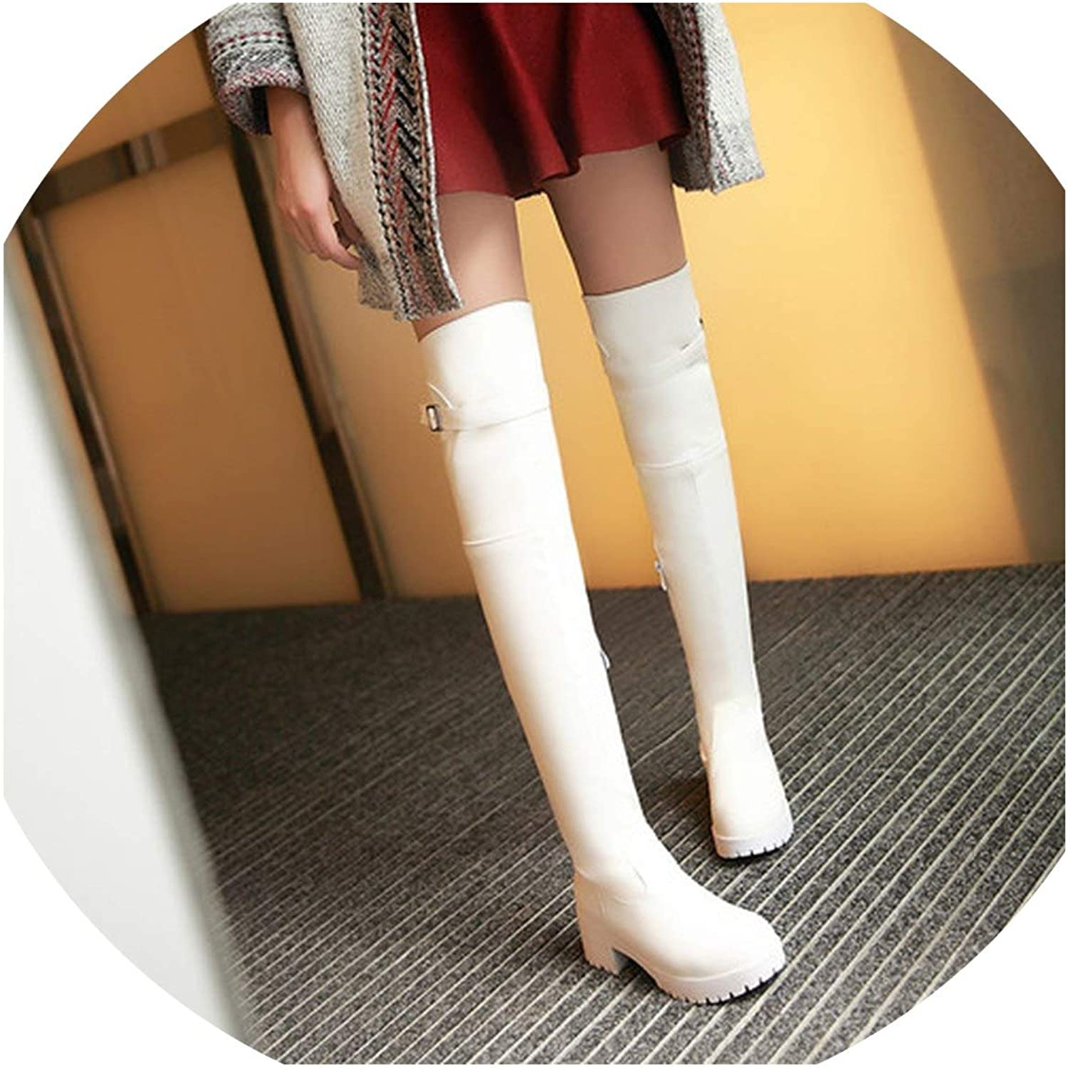 Winter Boots with The with Thick Side Zipper high Knee Boots White Large
