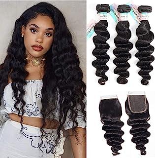 9A Brazilian Loose Deep Wave Bundles with Closure,Brazilian Virgin Hair Loose Deep Curly Hair ,100% Human Hair 3 Bundles w...