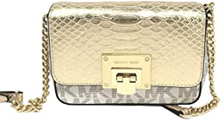 Michael Kors 35H7GT4C1B Tina Vanilla Pale Gold MK Signature Logo Small Clutch Crossbody Bag