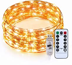 TaoTronics Indoor LED String Lights Copper Wire Lights 33ft 100 LED USB with Remote Controller Seasonal Decor Rope Lights for Party Christmas Decorations (Warm White)