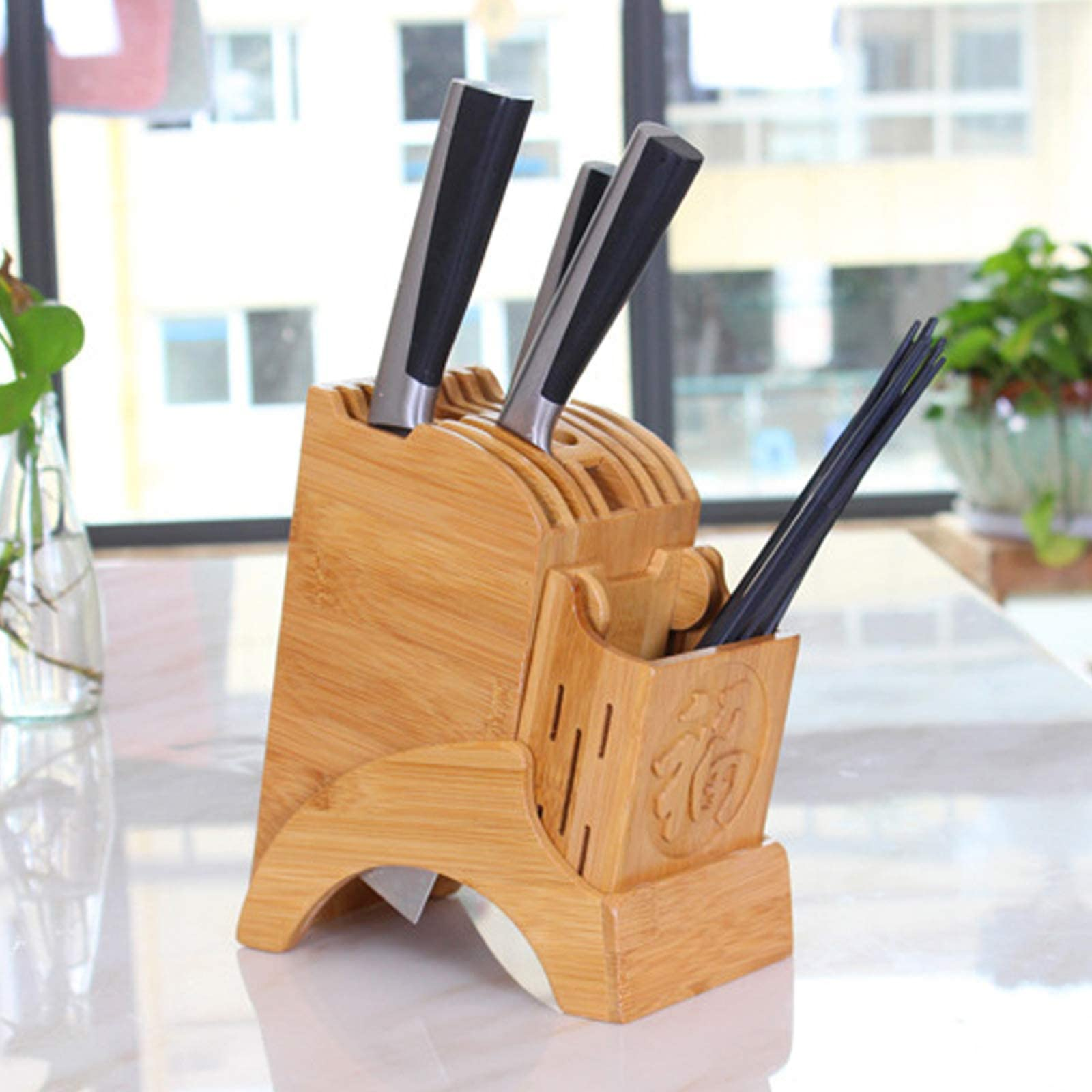 knife holder,Bamboo Knife Storage Block,kitchen knife holders without knives Hold Multiple Large Blade Knives Knife not includes knife holder 1pack yellow