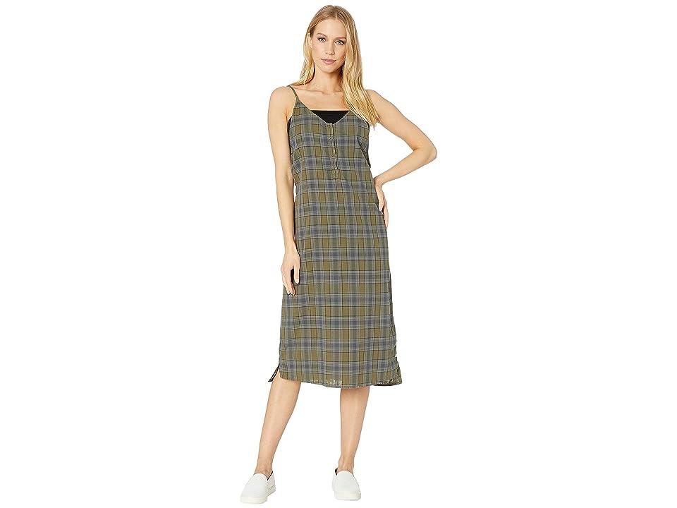 Hurley Tank Plaid Maxi Dress (Medium Olive) Women