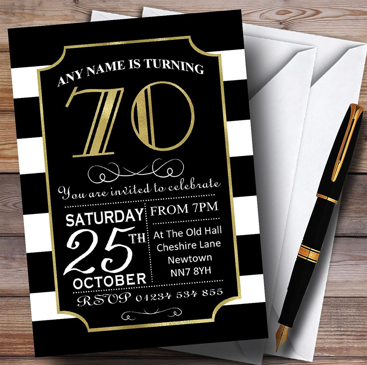 Black & White Stripy gold 70th Personalised Birthday Party Invitations