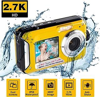 Camara Acuatica Camara de Fotos Acuatica para Esnórquel Camaras Acuaticas 2.7K 48MP con Pantalla Dual para Selfie Camara Sumergibles para Nadar