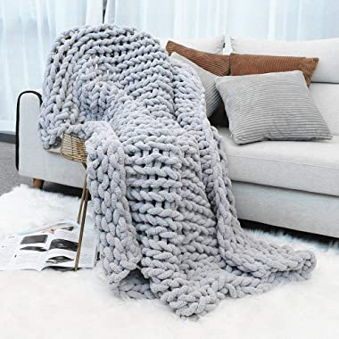 Inshere Luxury Chunky Knit Throw Blanket (48 x60 )-Large Cable Knitted Soft Cozy Polyester Chenille Bulky Blankets for Cuddling up in Bed, on The Couch or Sofa