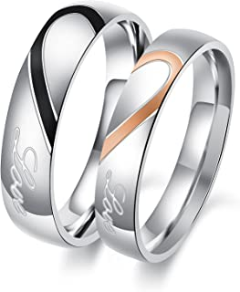 Jewelry His and Her Stainless Steel Heart Shape Matching Set Real Love Couples Wedding Band (A Pair)