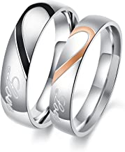 OPK Jewelry His and Her Stainless Steel Heart Shape Matching Set Real Love Couples Wedding Band (A Pair)