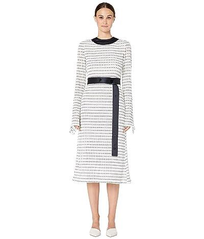 YIGAL AZROUEL Stretch Smocked Polka Dot Dress with Combo Belt (Ivory Multi) Women