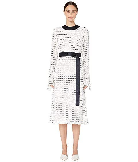 YIGAL AZROUËL Stretch Smocked Polka Dot Dress with Combo Belt