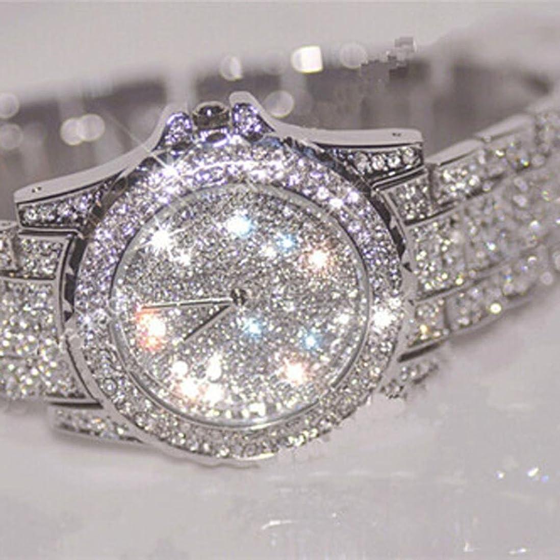 難破船忘れられない画家腕時計 可愛い レディース ガールズ 時計 ダイヤモンド付き 白い 文字盤 ウォッチ ステンレススチール バンド クオーツ時計 レディース 3種 (シルバー)