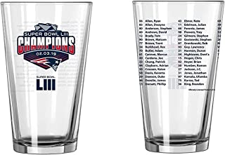 New England Patriots Super Bowl LIII Champions Official 16 oz. Roster Pint Glass