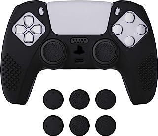 eXtremeRate PlayVital svart 3D dubbad utgåva halkfritt silikonskydd för PlayStation 5-kontroll, mjukt gummifodral skydd fö...