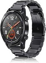 FINTIE Cinturino per Huawei Watch GT/GT Active/GT Elegant Smartwatch - Cinturini di Ricambio in Acciaio Inossidabile Banda con Fibbia di Metallo, Nero