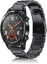 FINTIE Cinturino per Huawei Watch GT/GT 2 / GT Active/GT Elegant Smartwatch - Cinturini di Ricambio in Acciaio Inossidabile Banda con Fibbia di Metallo, Nero