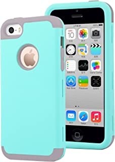Dailylux iPhone 5C Case,5C Case,PC+Soft Silicone Three Layers Shockproof Armor Anti-Slip Protective Defensive Hard Back Cover for Apple iPhone 5C-Mint Green+Grey