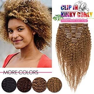 """16"""" 115g Afro Kinky Curly Clip In Human Hair Extensions Double Wefts Seamless Invisable Brazilian Virgin Hair For Fashion Black Women Remy Full Head Hairpiece 8Pcs/Lot 18 Clips #27 Dark Blonde"""