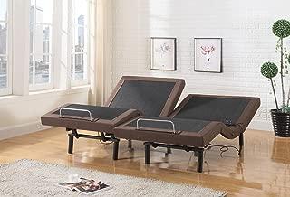 Home Life Electric Adjustable Platform Bed Frame Insert with 2 Independent Remote Controls - Linen Brown - Dual Adjustable Split King - bm325