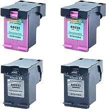 Nineleaf 4PK Remanufactured 60XL 60 XL High Yield Ink Cartridge CC641WN CC644WN Compatible for HP Deskjet D2530 D2545 F2430 F4224 F4440 F4480 Envy 100 110 111 114 120 Photosmart C4640 2 Black 2 Color