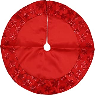 Kurt Adler Tiny 20-inch Miniature Satin Tree Skirt with Sequined Snowflake Border for Table Top Trees (Red)