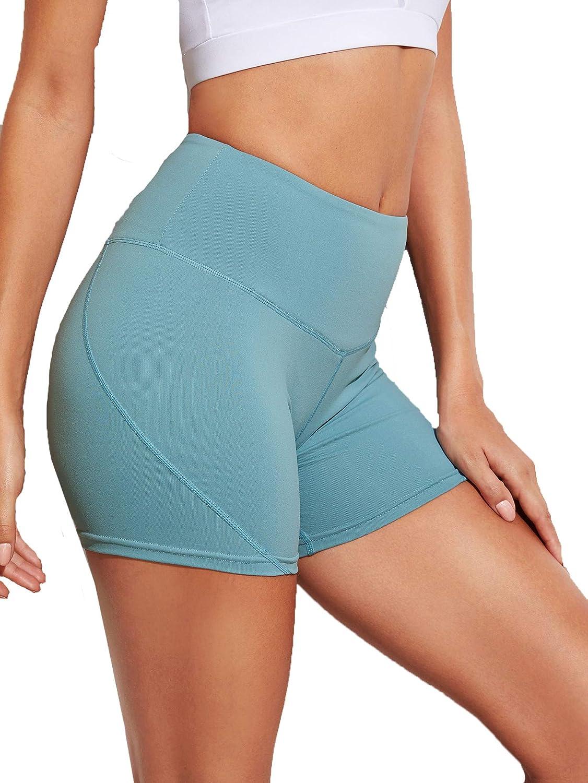 Milumia Womens High Waist Tummy Control Workout Yoga Shorts Running Compression Exercise Bike Shorts